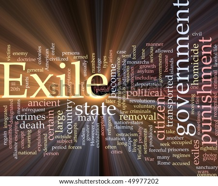 Word cloud concept illustration of exile punishment glowing light effect