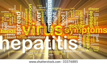 Word cloud concept illustration of  hepatitis virus glowing light effect - stock photo