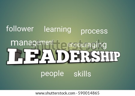 Word cloud concept illustration of leadership glowing light effect