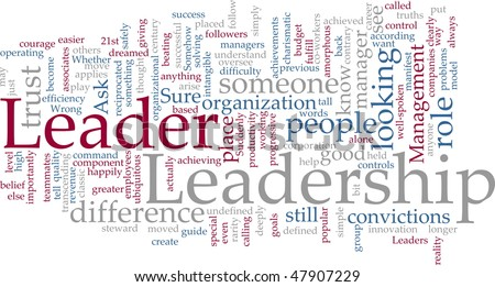 Word cloud concept illustration of leadership management