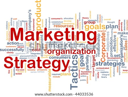 Word cloud concept illustration of marketing strategy - stock photo