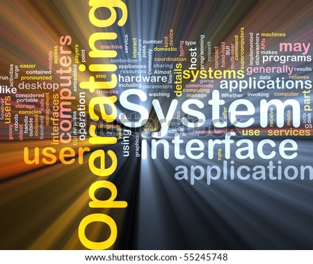 Word cloud concept illustration of operating system glowing light effect - stock photo