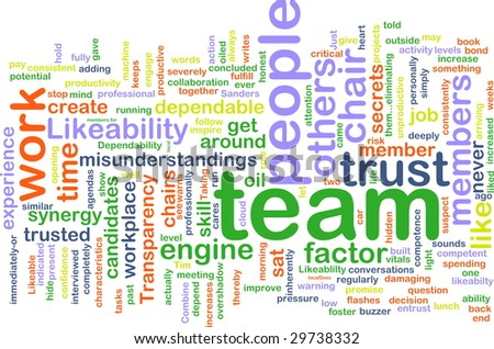 Word cloud concept illustration of people team