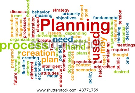 Word cloud concept illustration of planning process - stock photo
