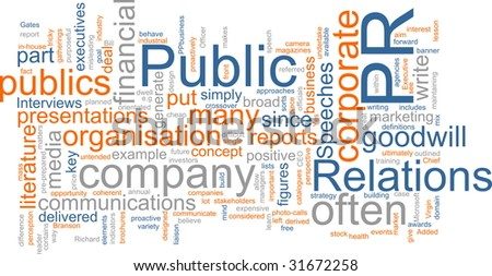 Word cloud concept illustration of public relations - stock photo