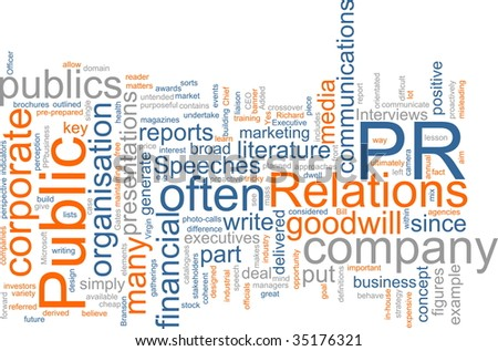Word cloud concept illustration of public relations