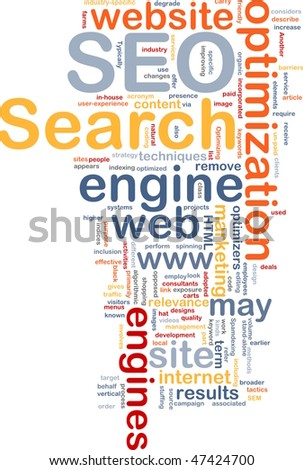 Word cloud concept illustration of SEO Search Engine Optimization - stock photo