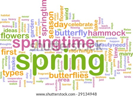 Word cloud concept illustration of spring season