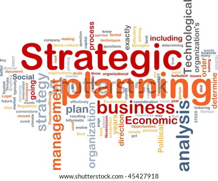 Word cloud concept illustration of strategic planning