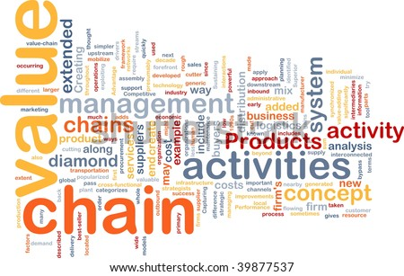 Word cloud concept illustration of value chain - stock photo