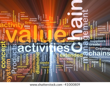 Word cloud concept illustration of value chain glowing light effect