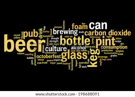 Word cloud containing expressions regarding beer. - stock photo