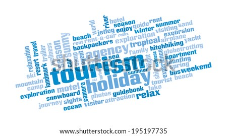 Word cloud containing expressions regarding tourism