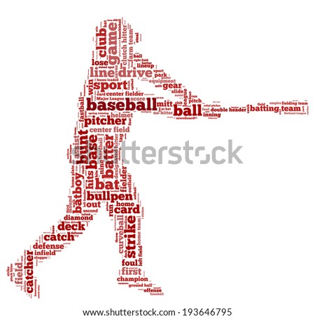 Word cloud containing words related to baseball in shape of baseball player, red letters on white background - stock photo
