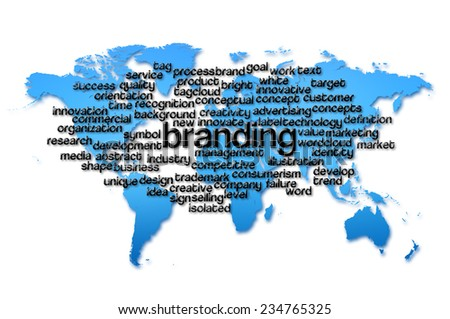 Word Cloud containing words related to Branding with world map background. - stock photo
