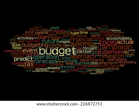 Word Cloud containing words related to budget - stock photo