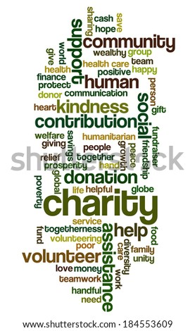 Word cloud containing words related to charity, assistance, health care, kindness, human features, positivity, volunteering, donations, help and similar - stock photo