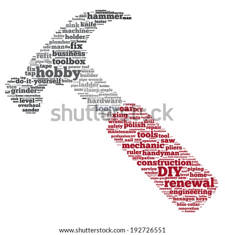 Word cloud containing words related to DIY and home renovation (do it yourself) concept and names of household tools - hammer, saw, pliers, clamp, etc. in shape of a hammer with red handle - stock photo