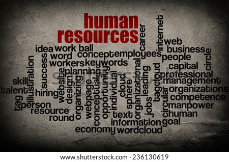 word cloud containing words related to human resources on grunge wall background  - stock photo