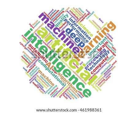 word cloud, containing words related to machine learning and artificial intelligence