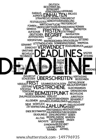 Word cloud - deadline