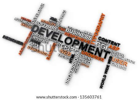 word cloud development over white background - stock photo