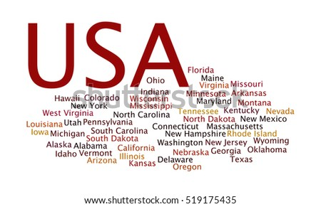 Word cloud enlisting the fifty states that makes the US, the United States of America