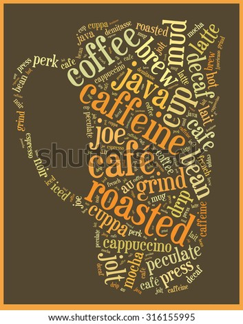 Word cloud graphic with coffee related words.