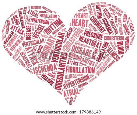Word cloud heart disease related in shape of heart organ - stock photo