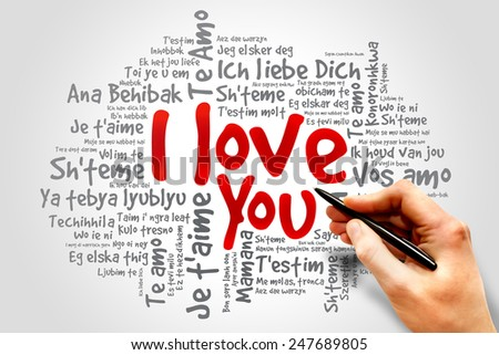 "Word cloud ""I Love You"" in different languages concept - stock photo"