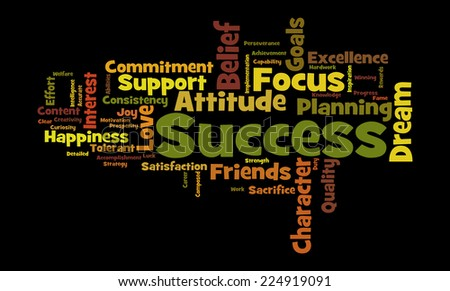 Word cloud illustrating the concept of success in both business and life - stock photo