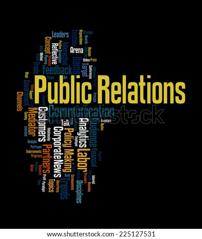 Word cloud illustrating the core concept of public relations and the terminologies associated with it - stock photo