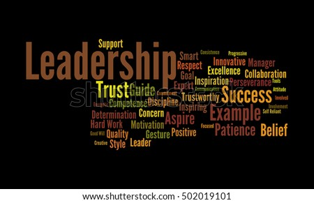 Word cloud illustrating the prime concept of leadership and the core values associated with it