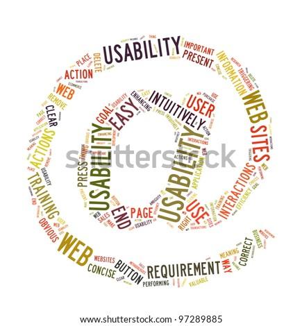 Word Cloud Illustration of Web Usability on white - stock photo