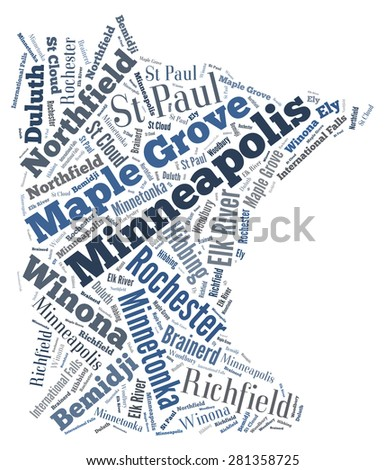 Word Cloud in the shape of Minnesota showing some of the cities in the state - stock photo