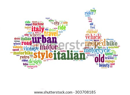 Word cloud in the shape of old scooter. Colorful letters on white background