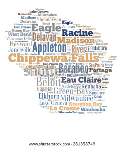 Word Cloud in the shape of Wisconsin showing some of the cities in the state - stock photo
