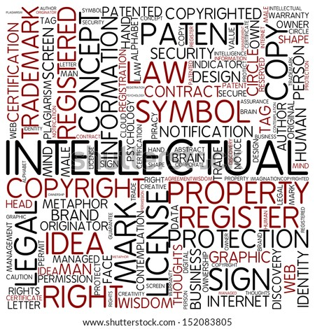 Word cloud - intellectual - stock photo