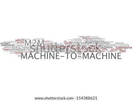 Word cloud - machine-to-machine - stock photo
