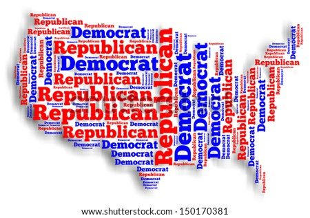 Word cloud map of the United States of America showing the two dominant political parties. - stock photo