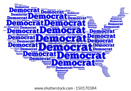 Word Cloud Map Of The United States Of America With The Word Democrat Filling