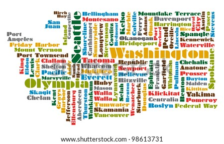 word cloud map of Washington state - stock photo