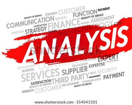 Word cloud of ANALYSIS related items, presentation background - stock photo