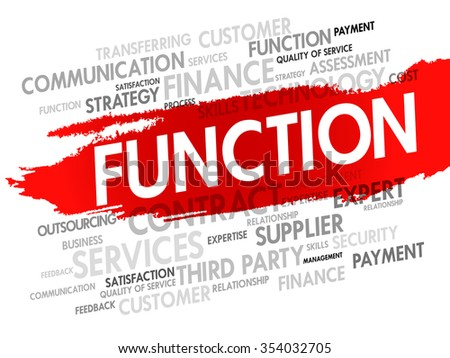 Word cloud of FUNCTION related items, presentation background - stock photo