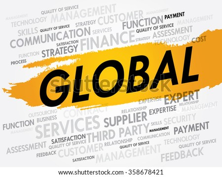 Word cloud of GLOBAL related items, presentation background - stock photo
