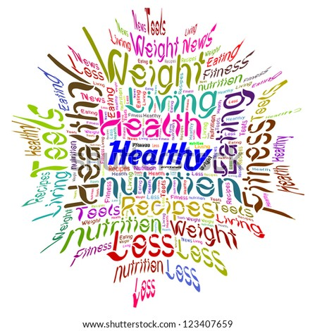 Word Cloud of Healthy Text - stock photo