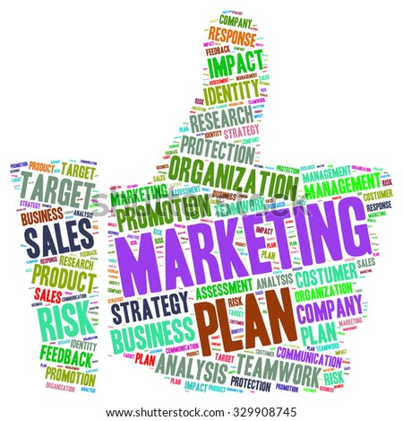 Word cloud of marketing concept in thumb up shape