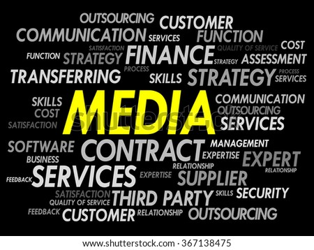 Word cloud of MEDIA related items, presentation background - stock photo