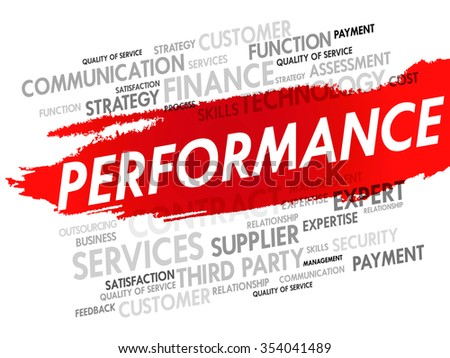 Word cloud of PERFORMANCE related items, presentation background - stock photo