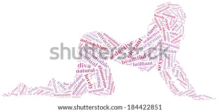 Word cloud of sexy posing woman silhouette - stock photo